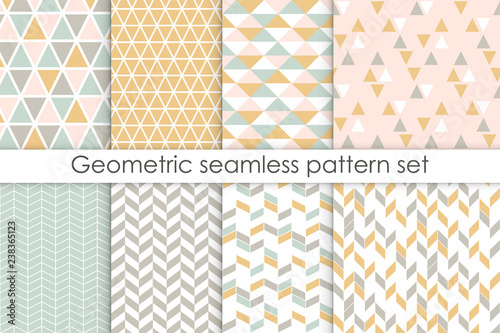 obraz PCV Set of abstract seamless patterns. Collection of simple geometric backgrounds with pastel colors. Vector illustration.