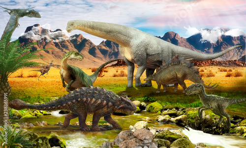 Photo  World Jurassic period. Dinosaurs