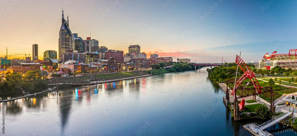 Nashville Skyline from John Seigenthaler Pedestrian Bridge at Dusk