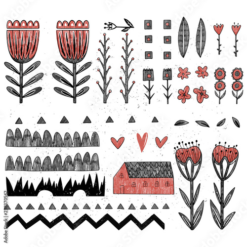 Collection of different folk art elements made in vector Slika na platnu