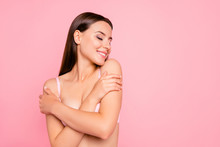 Close Up Portrait Of Gorgeous Gentle Tender With Crossed Folded Hands Eyes Closed Getting Pleasure From Aromatic Smell Her She Woman Wearing Pale Pink Bra Isolated On Rose Background