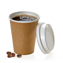 Coffee In Blank Craft Or Kraft Take Away Cup With Beans Mockup Or Mock Up Template Isolated On White Background