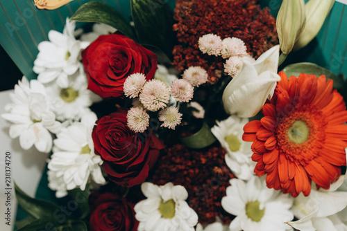 bouquet of flowers. happy birthday. happy valentine's day