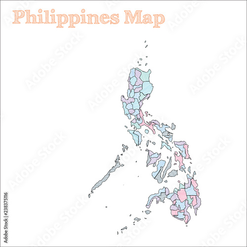Philippines Hand Drawn Map Colourful Sketchy Country Outline