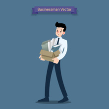 Disappointment Businessman Stand And Carrying His Cardboard Box With Personal Stuff Belongings, Leaving The Office After Being Fired And Became Jobless.