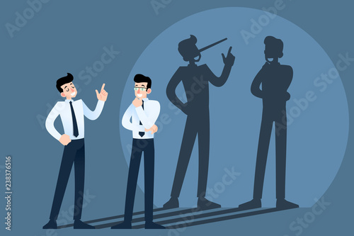 Happy smiling lies, cheat, hoax businessman character chatting in front of the wall with shadow of his long nose Wallpaper Mural