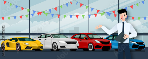 Staande foto Cartoon cars Happy businessman, seller stand and holding a clipboard in front of group luxury car that parking in large showroom in the city.