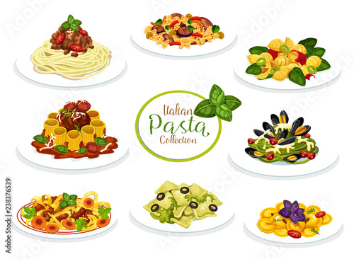 Fotografie, Obraz Italian pasta, spaghetti and macaroni dishes