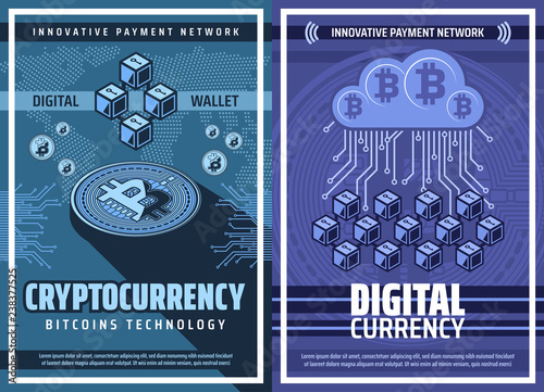 Bitcoin cryptocurrency and blockchain technology Wallpaper Mural