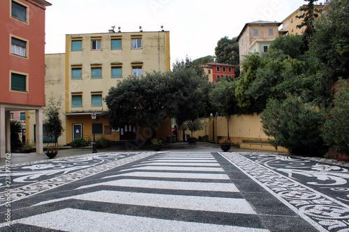 Fotografie, Obraz  Piazza con selciato artistico alberi e facciata