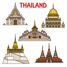 Bangkok Travel Landmarks Icons...