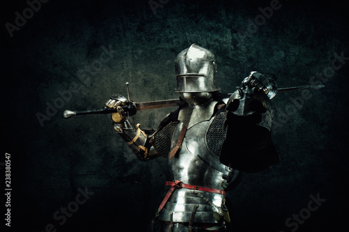 Portrait of a knight in armor Fotobehang