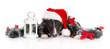canvas print picture black bull terrier dog posing in Santa hat