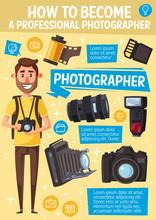 Cartoon Photographer, Camera And Equipment