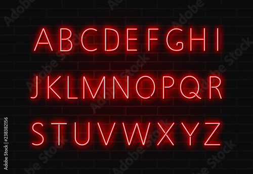 Neon font vector. Light alphabet text sign set. Glowing night font for bar, casino, party. Red wall