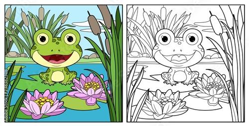 Fototapeta premium Śliczna żaba siedzi na liściu lilii i zarysował liniowy rysunek do kolorowania na białym tle