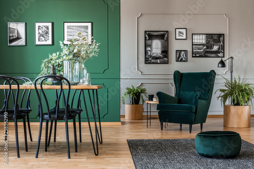 Fotografía  Elegant bottle green dining room with wooden table with black chairs and emerald