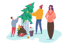 Family Throws A Christmas Tree In Garbage Bin. Vector Cartoon Illustration Of Recycle Waste.