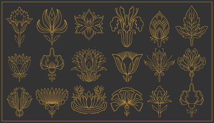 Art nouveau and art deco floral ornaments, modern flower vintage elements. Re...