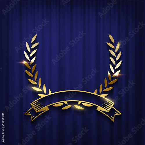 Golden laurel wreath and ribbon isolated on blue curtain background Wallpaper Mural