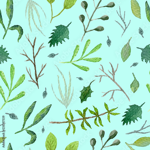 Foto  Summer botanical seamless pattern with green leaves and branches on light blue background