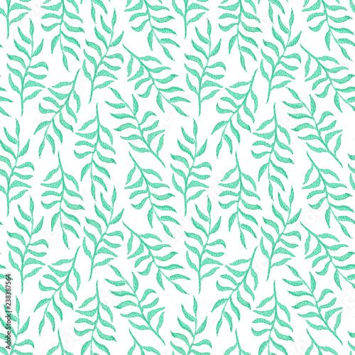 Foto  Tender watercolor seamless pattern with emerald leaves and branches on white background