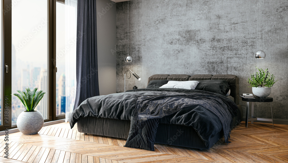 Fototapety, obrazy: 3d render of beautiful bedroom interior