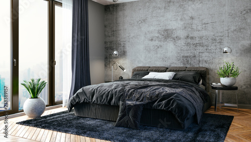 Fotografia  3d render of beautiful bedroom interior
