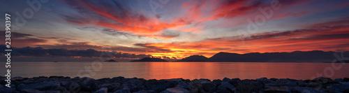 Foto auf Gartenposter Ligurien Sunset at the Sea - Gulf of La Spezia Italy