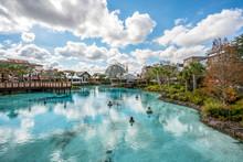Orlando, Florida - December, 2017 - Colorful Artificial Lake Orlando, Florida - December, 2017 - Colorful Artificial Lake At Lake Buena Vista