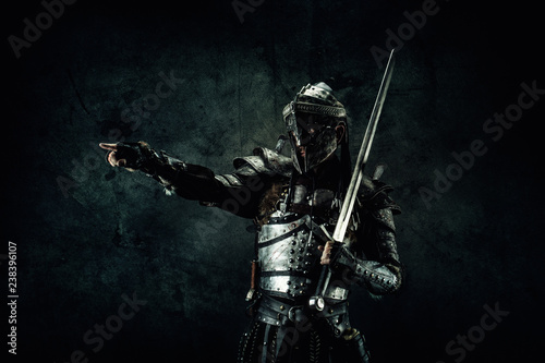 Portrait of a medieval fighter Canvas Print