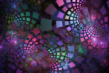 Fractal Tiles In Pastel Colors Curving Out In Groups And Layers
