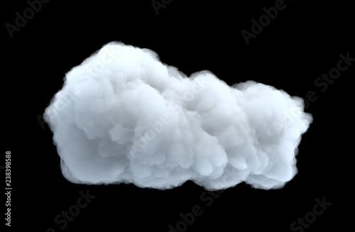 Cuadros en Lienzo 3d rendering of a white bulky cumulus cloud on a black background