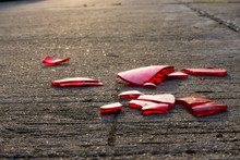 Glass Chips On Asphalt Floor Due To The Car Accident