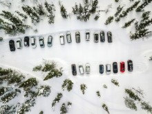 Aerial View Of Winter Parking ...