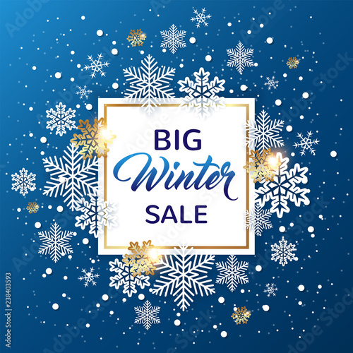 Blue Christmas Background for winter sale Canvas-taulu