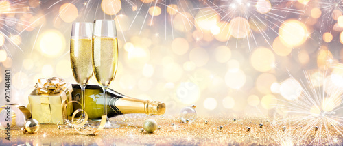 Fotobehang Hoogte schaal New Year Celebration With Champagne And Shiny Decoration