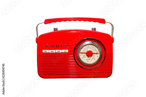 Vintage style retro old gramophone radio isolated on white background
