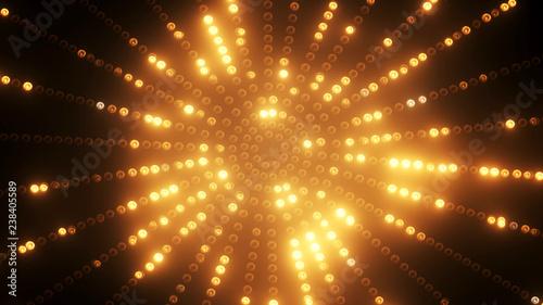 Photo  3d render Gold circle led VJ background