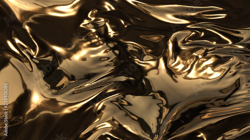 3d render beauty abstract of gold waves Fototapete
