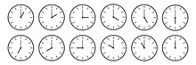 Horizontal Set Of Analog Clock...