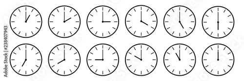 horizontal set of analog clock icon notifying each hour isolated on white,vector Wallpaper Mural