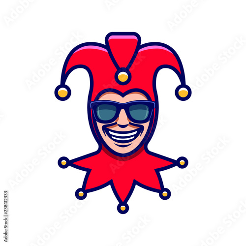 Fotomural The laughing Joker in sunglasses. Jester icon. Buffoon logo