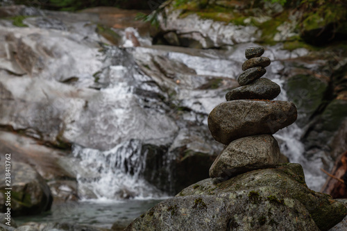 Stack Of Rocks Near A Waterfall Taken In Mt Fromme North Vancouver British