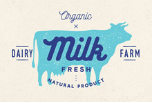 Milk, Cow. Logo With Cow Silho...