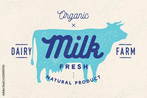 Stampa su Tela Milk, cow. Logo with cow silhouette, text Milk, Dairy farm