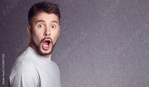 Fotografie, Tablou  Surprised bearded man looking at camera