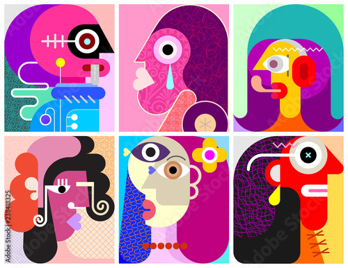 Six Faces / Six Persons vector illustration