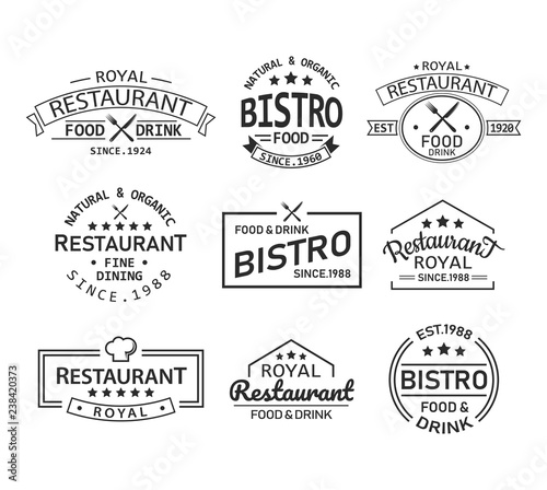 Photo Restaurant and cafe retro logo and branding label