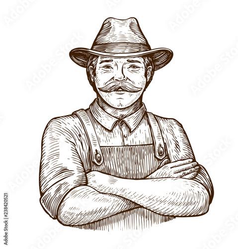 Happy farmer in the hat. Vintage sketch vector illustration Billede på lærred